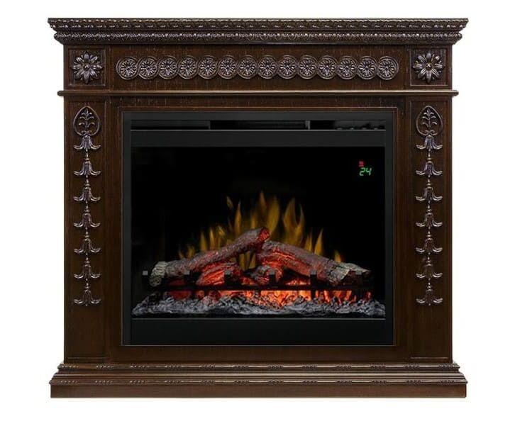 Фронтальный каминокомплект Fireplace Ван Рейн Темный дуб эффект живого пламени со звуком и обогревом
