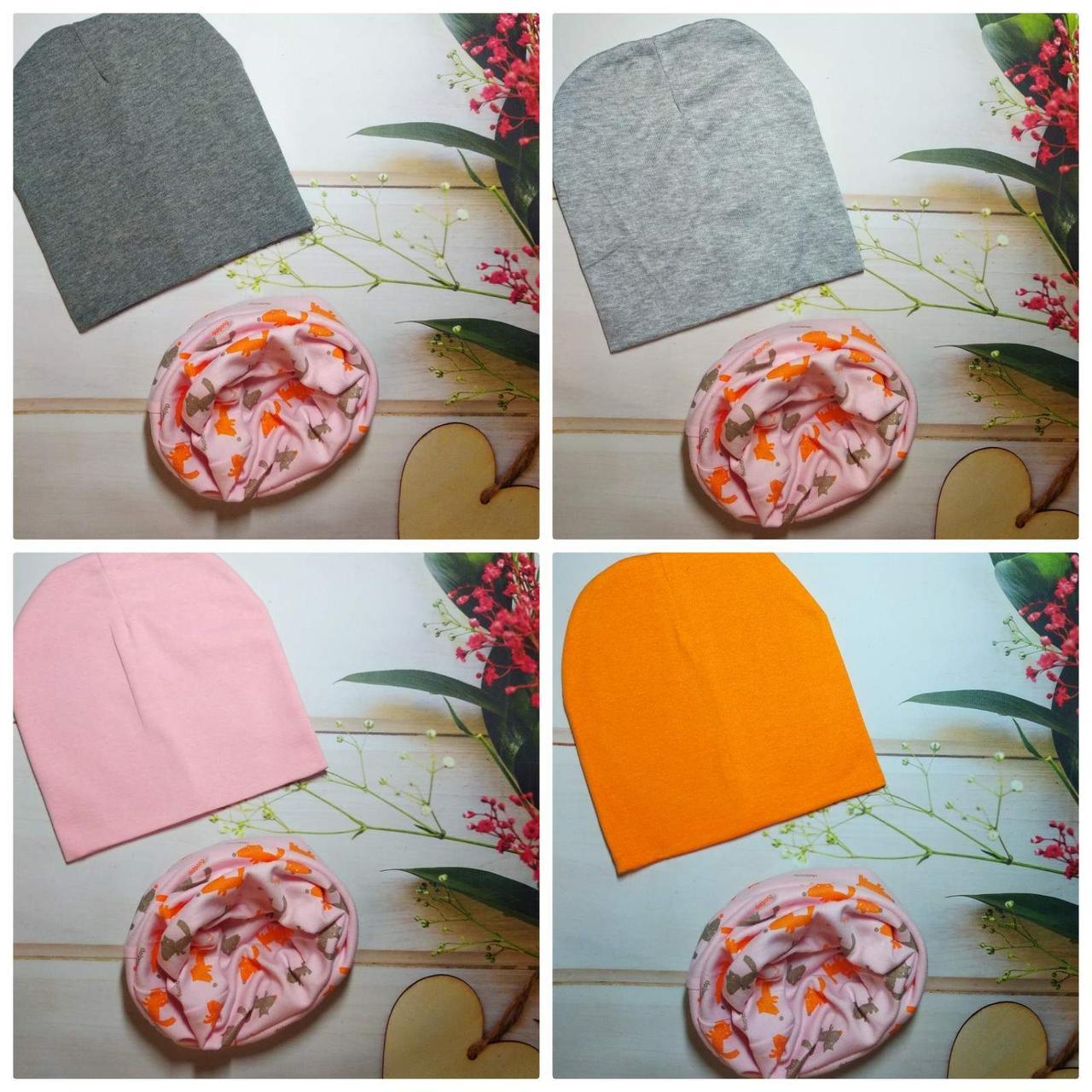 Стильні трикотажні дитячі набори шапка+хомут, снуд