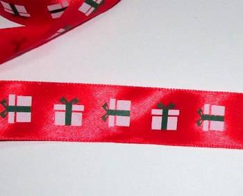Стрічка атлас Подарунки 2,5 см, червона