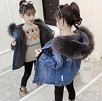 Джинсова тепла курточка для дівчинки весна, осінь, тепла зима / Куртки для девочек плюс зимняя одежда с бархат