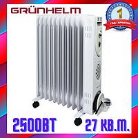Масляный обогреватель 11 секций 2,5 кВт Grunhelm, Радиатор с терморегулятором, Радиатор масляный Грунхельм