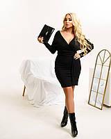 Стильное женское платье по фигуре до середины бедра с глубоким декольте для пышных девушек черный