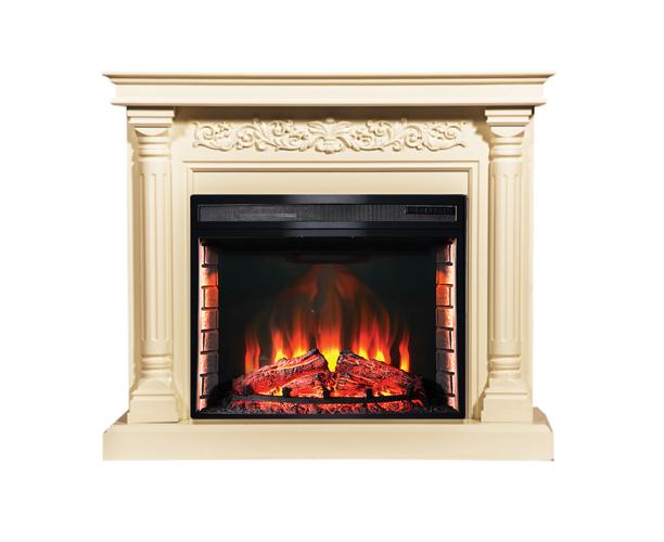 Пристінний каминокомплект Fireplace Пікассо Бежевий з ефектом живого полум'я зі звуком і обігрівом