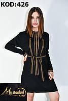 Платье-туника под поясок вязка для девушек размер 42-48,цвет микс в упаковке