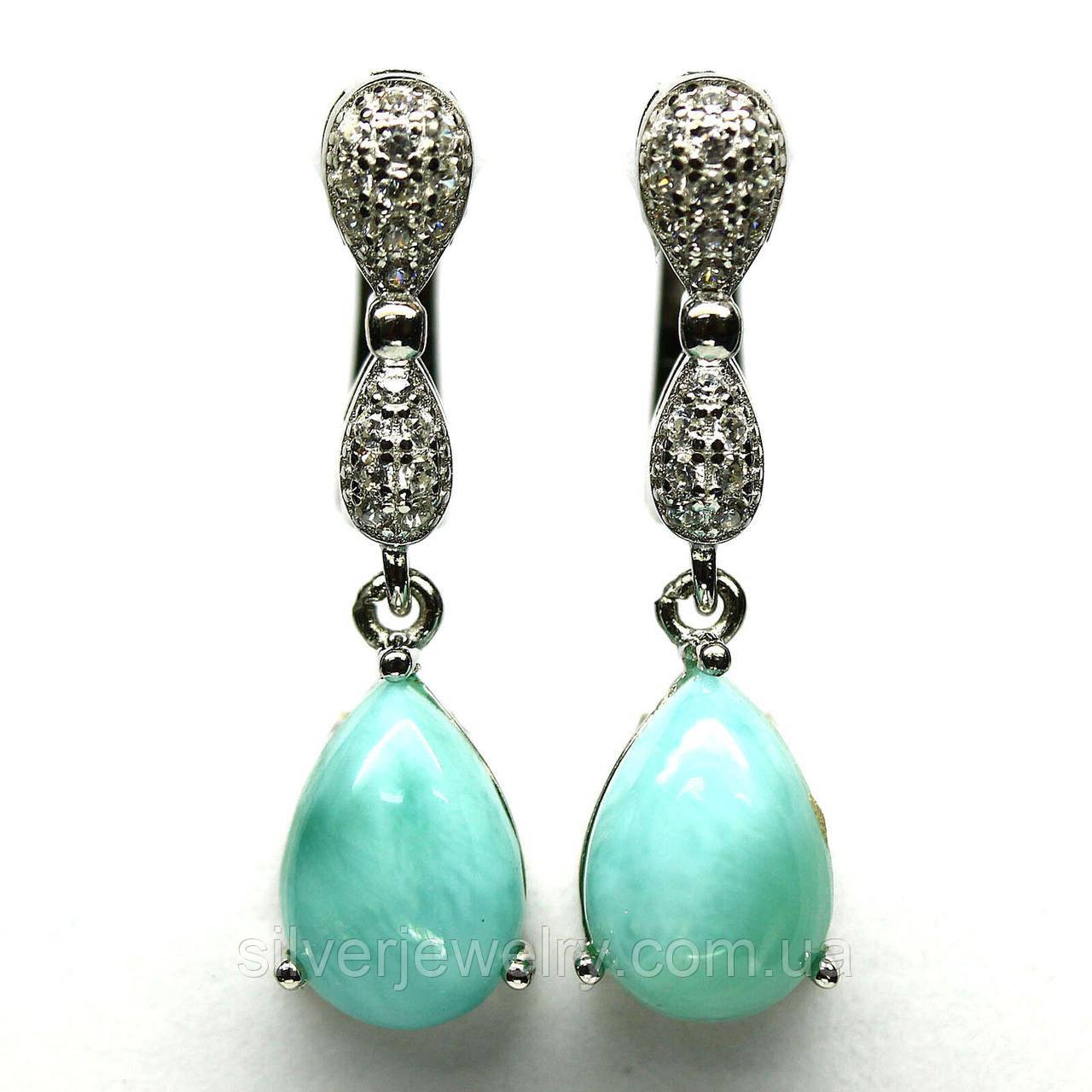 Серебряные серьги с ЛАРИМАРОМ (натуральный), серебро 925 пр