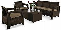 Комплект садовой мебели Allibert by Keter Corfu Set Box Max Brown ( коричневый ) искусственный ротанг