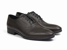 Коричневые оксфорды броги кожаные мужские туфли обувь больших размеров Amedeo Brown BS by Rosso Avangard