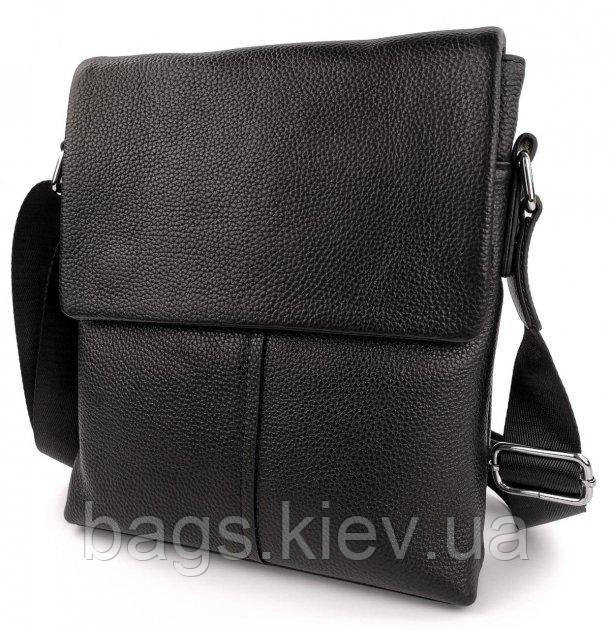 Мужская сумка-мессенджер из натуральной кожи Черная