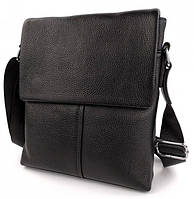 Мужская сумка-мессенджер из натуральной кожи Черная, фото 1
