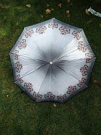 Зонт женский серый с орнаментом арт.176-1