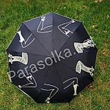 Зонт женский черный с рисунком арт.707-12, фото 2