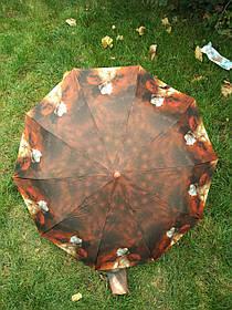 Зонт жіночий коричневий абстракція з квітковим принтом арт.1204-1