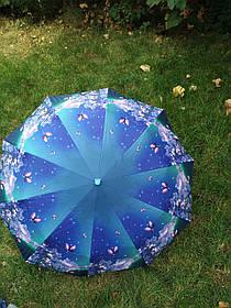 Зонт жіночий синій з квітковим принтом арт.1204-9