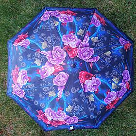 Зонт жіночий синій з квітковим принтом 1067-2