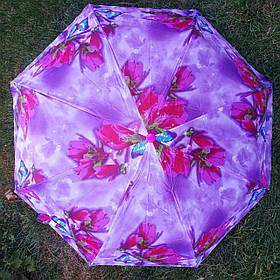 Зонт жіночий рожево-фіолетовий з квітковим принтом1067-8