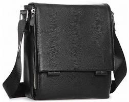 Кожаный мессенджер черный мужской Tiding Bag A25F-88