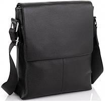 Мужская кожаная сумка-мессенджер через плечо Tiding Bag Черная A25-3A