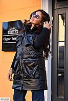 Удлиненная женская жилетка безрука эко кожа на синтепоне очень теплая на молнии воротник стойка арт 6060