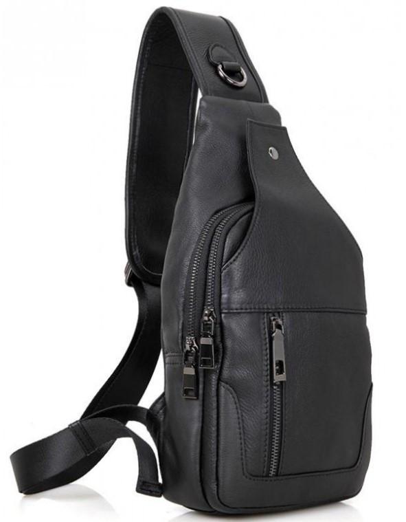Чоловічий шкіряний рюкзак-слінг на одне плече VL06A
