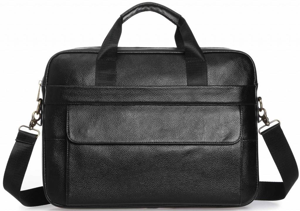 Ділова сумка-портфель чоловіча шкіряна для ноутбука і документів чорна Tiding Bag