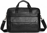 Ділова сумка-портфель чоловіча шкіряна для ноутбука і документів чорна Tiding Bag, фото 1
