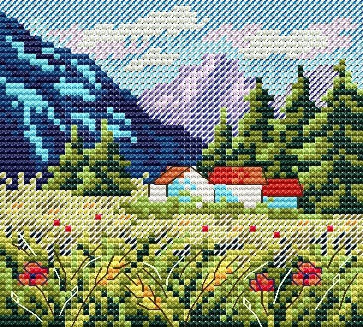 Набір для вишивки хрестом М.П.Студія М-614 «Гірський пейзаж»