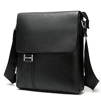 Мужская кожаная сумка на плечо черная Tiding Bag, фото 1
