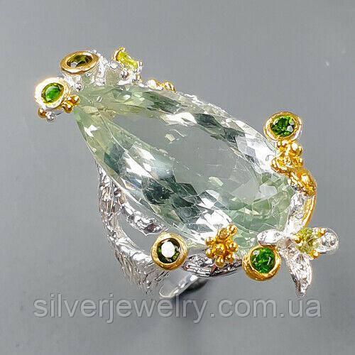 Серебряное кольцо с ПРАЗИОЛИТОМ (зеленый аметист), серебро 925 пр. Размер 17,75
