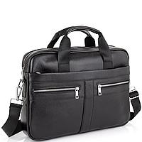Мужская кожаная сумка портфель для ноутбука и Черная