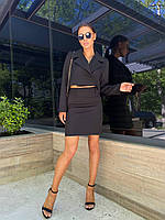 Жіночий стильний костюм-двійка міні спідниця і укорочений двобортний піджак, фото 1