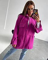 Стильна тепла жіноча кашемірова сорочка оверсайз, фото 1
