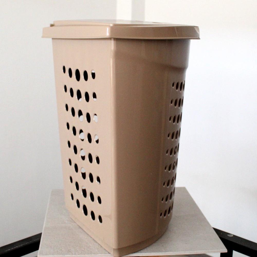 Кремовая угловая корзина для белья с крышкой 45л