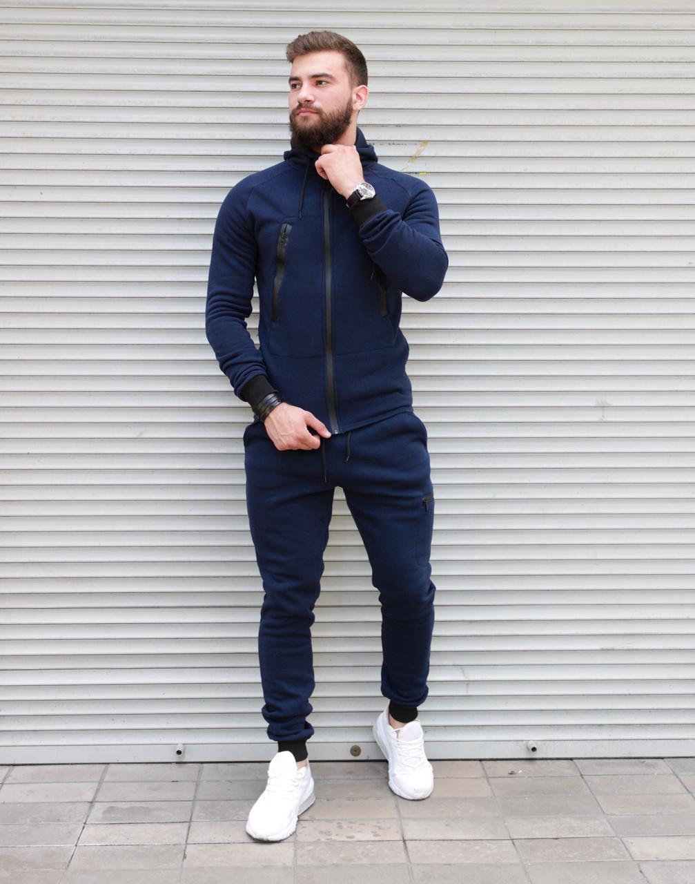Теплий чоловічий спортивний костюм синього кольору з капюшоном