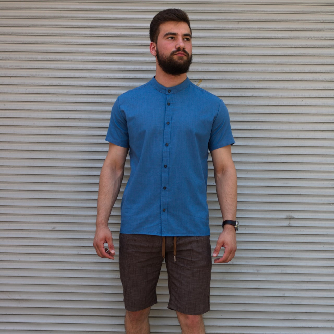 Лляна сорочка синього кольору з коротким рукавом   100% льон