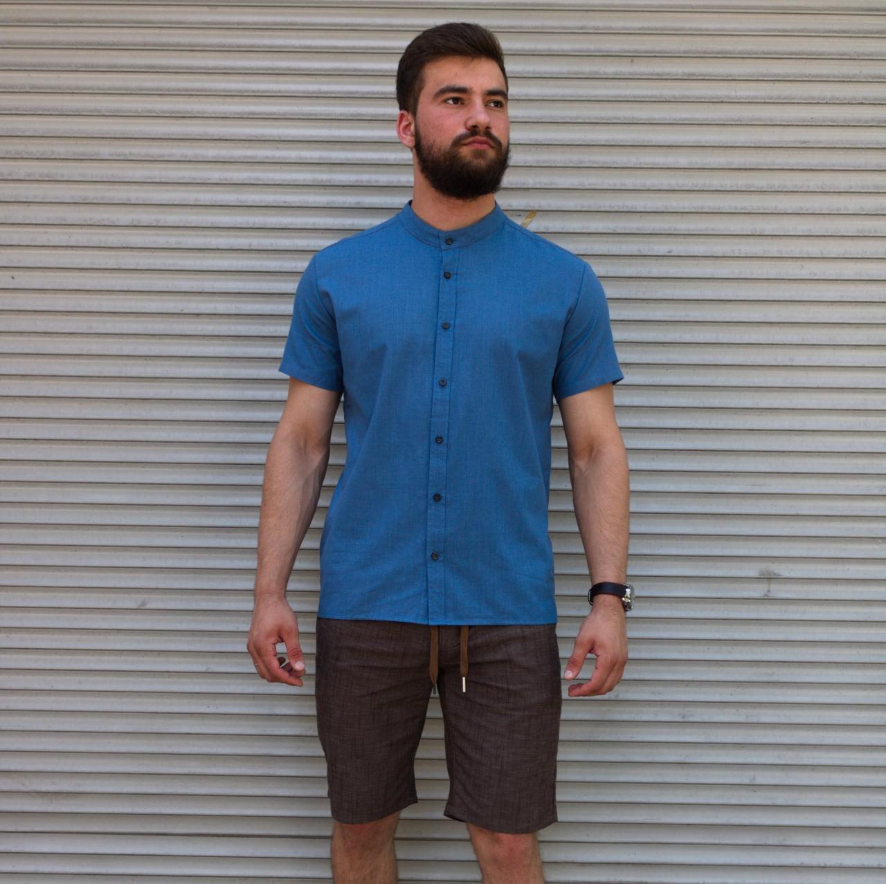 Льняная рубашка синего цвета с коротким рукавом | 100% лён