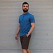 Льняная рубашка синего цвета с коротким рукавом | 100% лён, фото 2