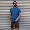 Льняная рубашка синего цвета с коротким рукавом | 100% лён, фото 3