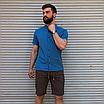 Льняная рубашка синего цвета с коротким рукавом | 100% лён, фото 4
