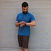 Лляна сорочка синього кольору з коротким рукавом   100% льон, фото 5