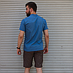 Льняная рубашка синего цвета с коротким рукавом | 100% лён, фото 6
