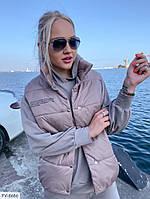 Модная молодежная женская стеганная жилетка безрукавка утепленная с воротником стойкой на кнопках арт 10255