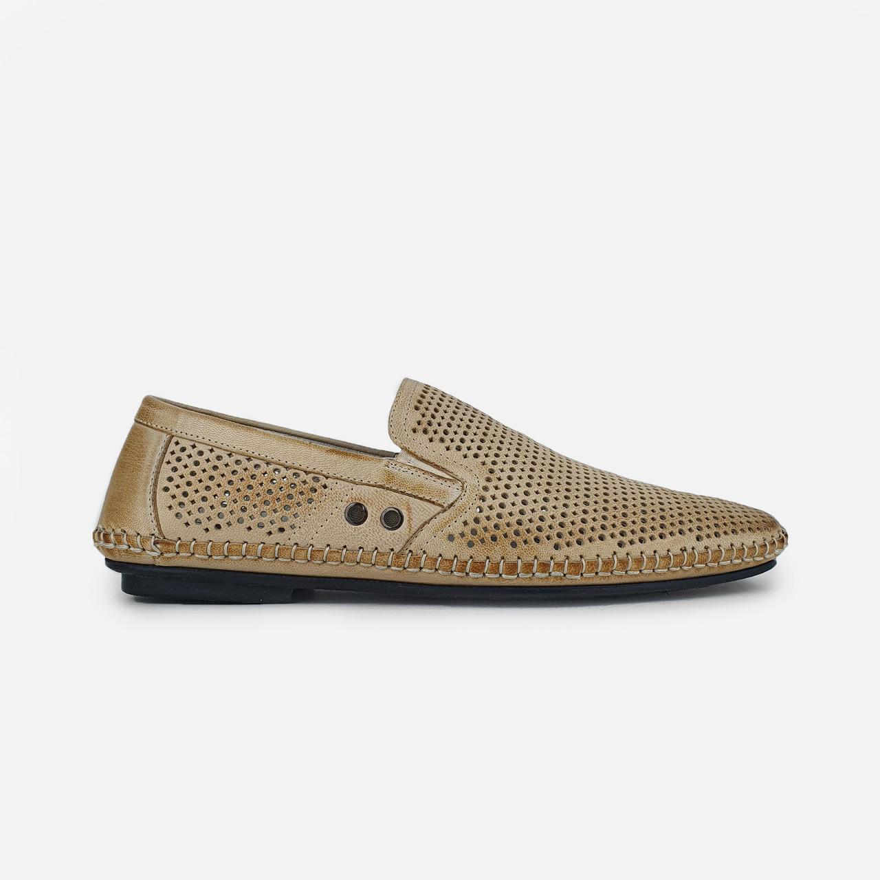 Літні чоловічі повсякденні туфлі з натуральної шкіри бежеві