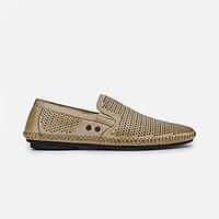 Літні чоловічі повсякденні туфлі з натуральної шкіри бежеві, фото 1
