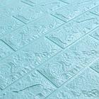 Самоклеючі шпалери Декоративна 3D панель ПВХ 1шт, блакитна цегла (бірюза), фото 2