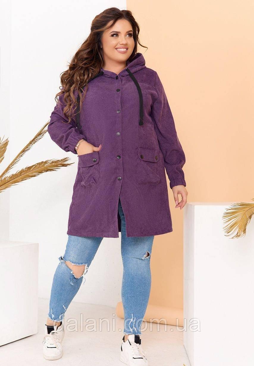 Женская фиолетовая вельветовая куртка с капюшоном большие размеры