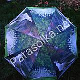 Женский зонт зеленый с изобр. павлина арт 3557а-6, фото 2