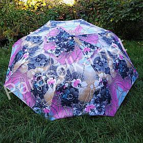 Жіночий парасольку рожево-блакитний з квітковим принтом арт.3300-1