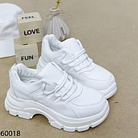 Кросівки жіночі на високій підошві білі, фото 1