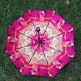 Зонт женский коричнево-бордовый , абстракция арт 3013-4, фото 4