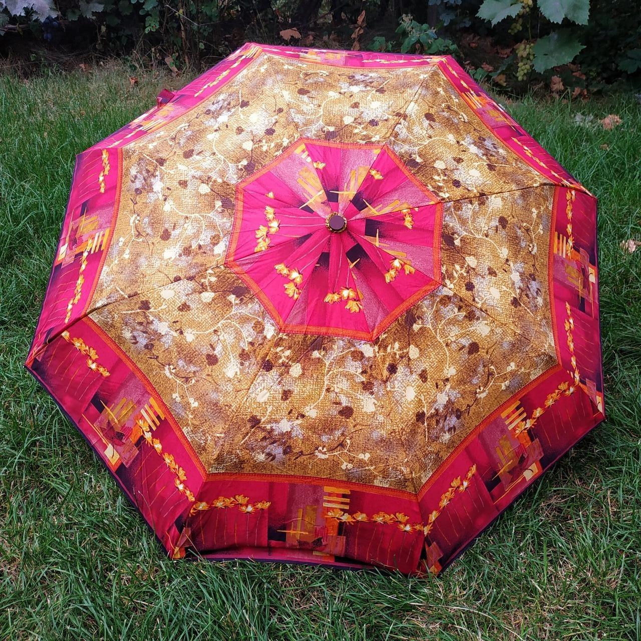 Зонт женский коричнево-бордовый , абстракция арт 3013-4